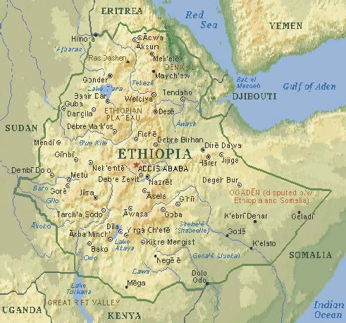 Map of Ethiopia with an arrow showing the location of our coffee origin.